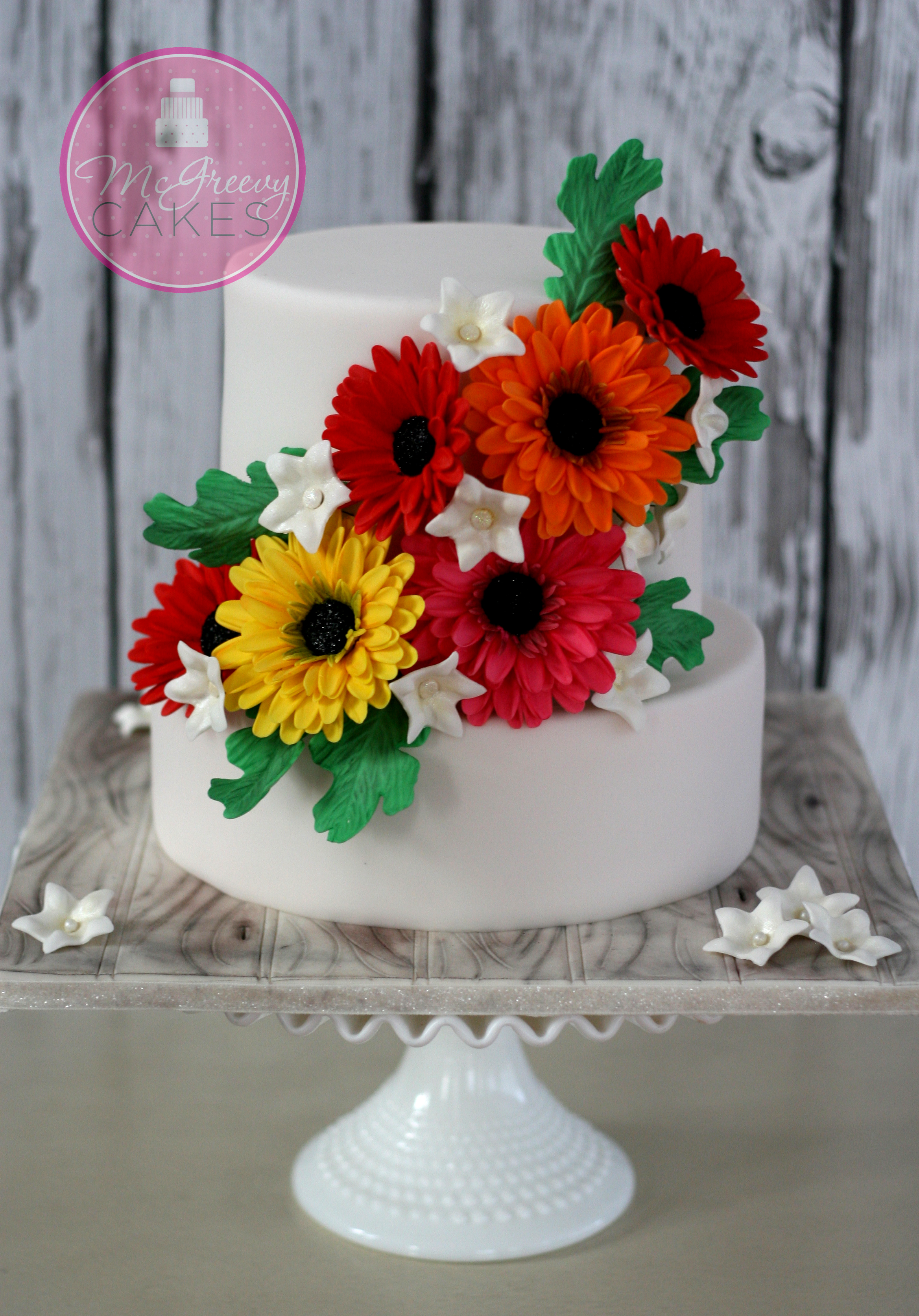 wedding cake pictures with gerbera daisies 70th anniversary gerbera cake mcgreevy cakes 23449