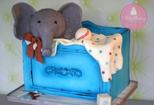 Vintage Baby Toy Trunk Cake!