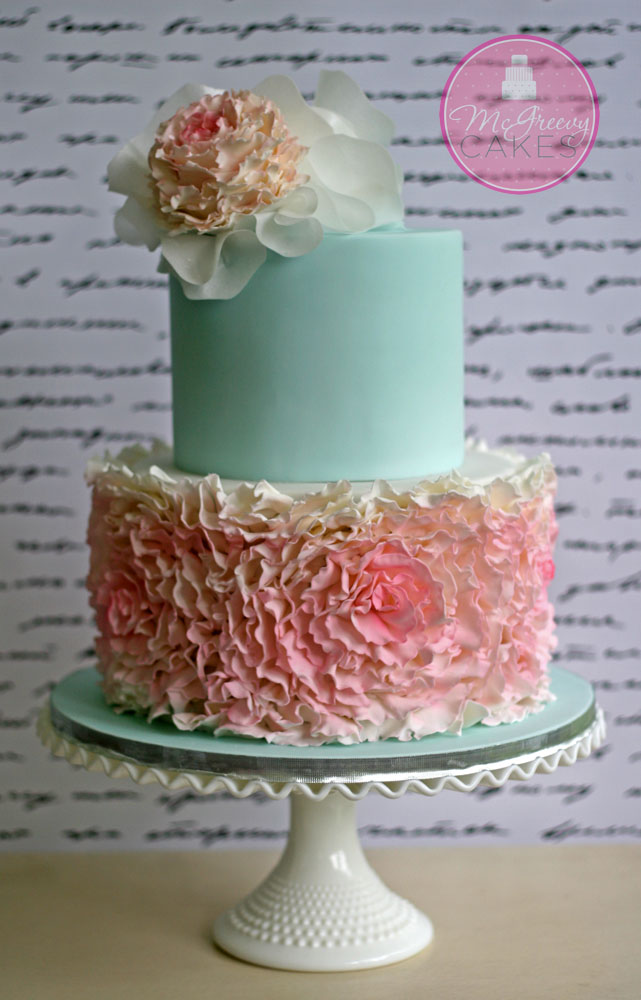 how to make ruffle rose wedding cake fondant rosette ruffles cake mcgreevy cakes 15988