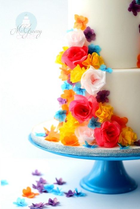 Quick and Easy Colorful, Wafer Paper Flowers and a Watering Can Cake ...
