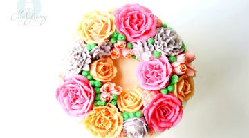 Buttercream Flowers Wreath Cake; A How-TO