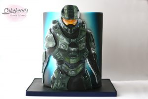 Painting Halo Cake & Covering a Double Barrel